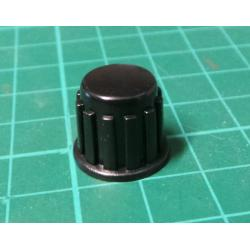 Pristrojovy knoflik, KP1406, 14x15mm, hridel 6mm, cerny bez sipky