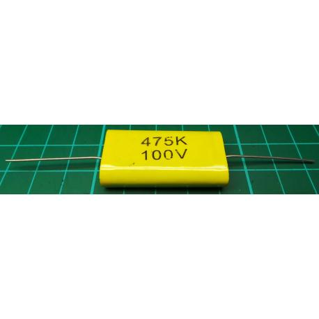 Capacitor, 4.7uF, 100V, Polyester Film, Rolled, Non Polarised