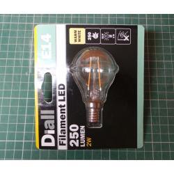 Dial, Filament LED, 250Lumen, 2W, E14, Warm White, A++