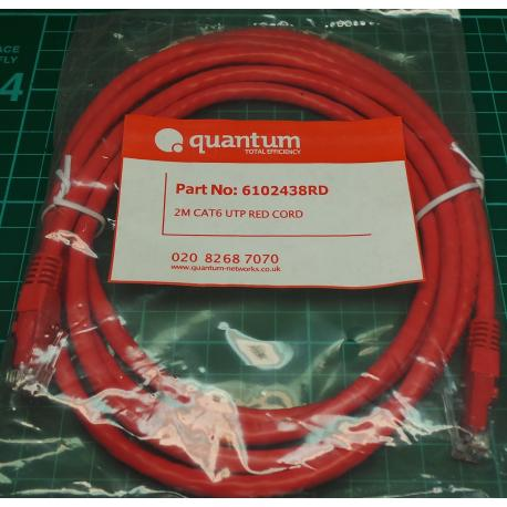RJ45 Patch Lead, CAT6, Red, 3m