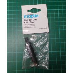 Mini DIN line, 6 pin plug