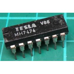 7474, MH7474, TESLA, dual D positive edge triggered flip-flop with preset and clear
