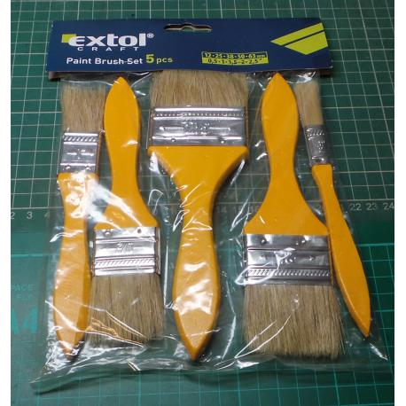 Flat brushes, set 5pcs, (12-25-38-50-63mm), EXTOL CRAFT 9153
