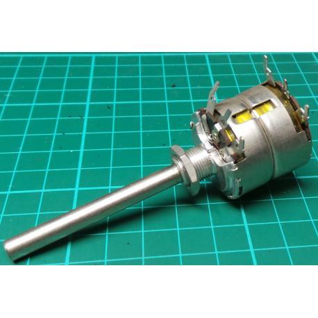 Potentiometer, 2 x 5M, Lin, THT, 6x50mm Shaft