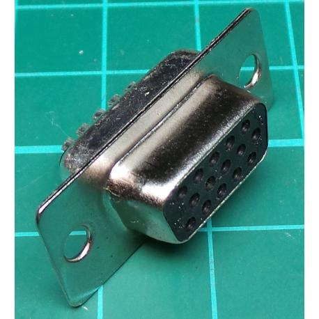 D Type, Socket, 15 Pin HD, Solder Bucket