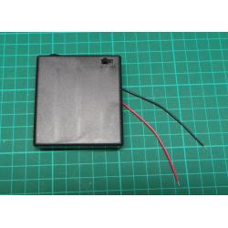 Battery holder 4xR6 / AA / UM3 with lid and switch