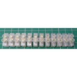 Terminal Block, 12 Way, for 2.5mm2 wire, 10mm pitch, 6 AMP, PE