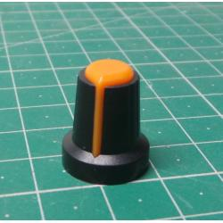 Instrument knob 15x17mm, shaft 6mm black-orange