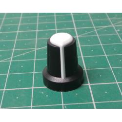 Instrument knob 15x17mm, shaft 6mm black-white
