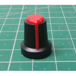 Přístrojový knoflík 15x17mm, hřídel 6mm černo-červený