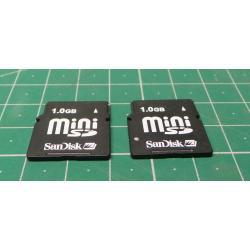 USED, Mini SD, 1GB, Class 6