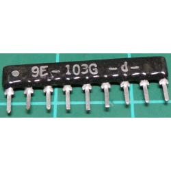 10K Resistor Array, 9 Pins, * Resistors Bussed