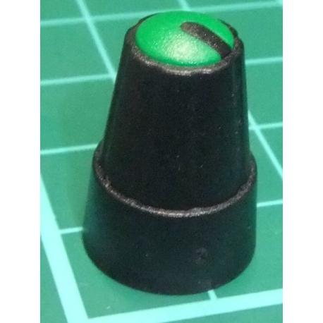 Knob, for 6mm knurled shaft, Green, Style 1