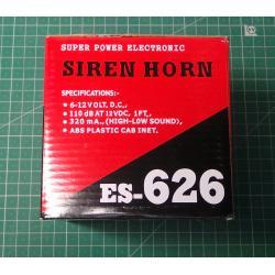 SIREN HORN, 15W, 12V, 1 tone