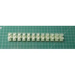 Terminal Block, 12way, for 10mm2 wire, 15mm, Pitch, 50AMP, NYLON