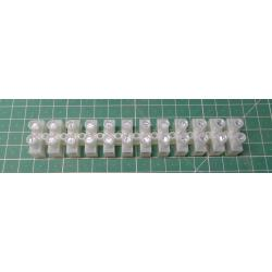 Terminal block, 12way, for 6mm2 wire, 12mm PITCH, 41AMP, NYLON
