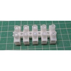 Terminal Block, 5 way, for 6mm2 wire, 12mm PITCH, 41AMP, NYLON