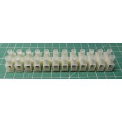 Terminal Block, 12way, for 2.5mm2, 10mm PITCH, 24A, NYLON