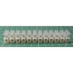 Terminal Block, 12way for 2.5mm2 wire, 8mm PITCH, 24A, NYLON