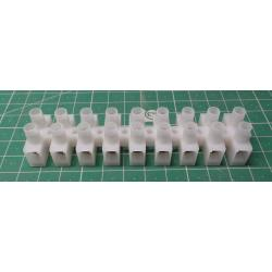 Terminal Block, 9 way, for 6mm2 wire, 12mm PITCH, 41AMP, NYLON