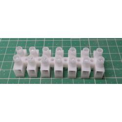 Terminal Block, 7 way, for 6mm2 wire, 12mm PITCH, 41AMP, NYLON