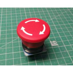 Mush, Head Push Button, Plastic 40mm, Turn to release, Red, P2AML4, 103-000-187