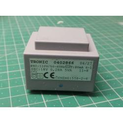 Transformer PCB 5VA 110V / 18V 0,28A TRONIC
