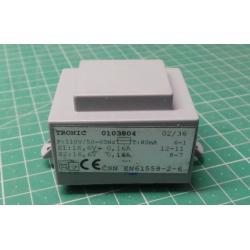 Transformer PCB 5VA 110V / 2x16,6V 0,16A TRONIC