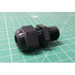 Cable Gland, with Locknut, IP68 5 Bar, M16 x 1.5, 5 mm, 10 mm, Nylon 6 (Polyamide 6), Black, 50011M16PASW-F