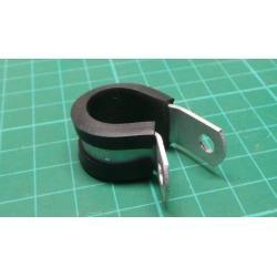 211-15080 - Fastener, Cushioned P Clip, 9.5 mm, Screw Mount Cable Clamp, Aluminium, CR (Chloroprene), Black