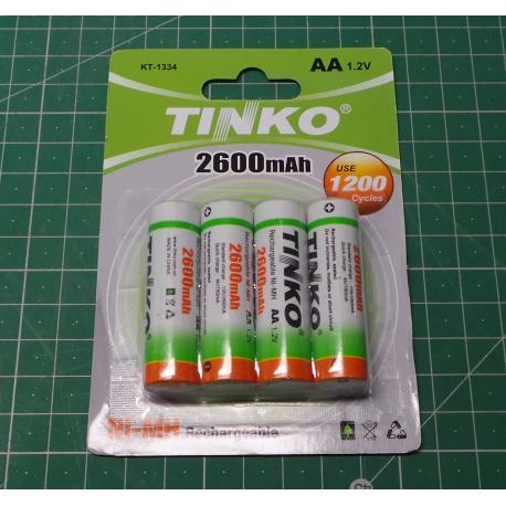 Rechargeable NiMH AA 1.2V / 2600mAh TINKO