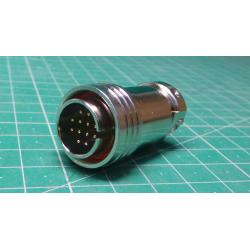 PRC05P12M - Circular Connector, PRC05 Series, Cable Mount Plug, 12 Contacts, Solder Pin, Push-Pull, Brass Body