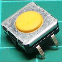 Microswitch SPST, Non-Latching, PCB Mount, Yellow Button