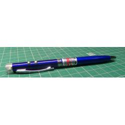 3 in 1 Red Laser Pointer + Ballpoint Pen + LED Flashlight Black Lamp 13.5cm, BLUE