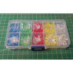 LED 3+5mm červená, zelená, bílá, žlutá, modrá, balení 375ks