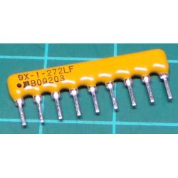 2K7 Resistor Array, 9 Pins, Resistors Bussed