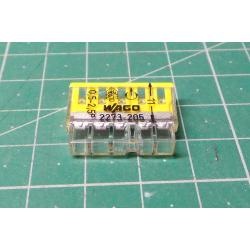 Wago terminal 2273-205, 0.5 - 2.5 mm2, 5-pole, transparent / white