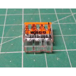 Wago terminal 2273-203, 0.5 - 2.5 mm2, 3-pole, transparent / white