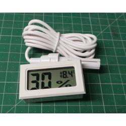Digital thermometer and hygrometer with probe FY-12 white