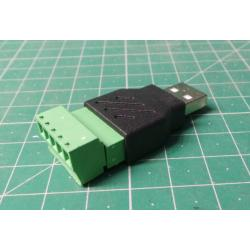 USB connector A with terminal block