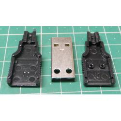 USB connector TYPE A for cable, plastic cover