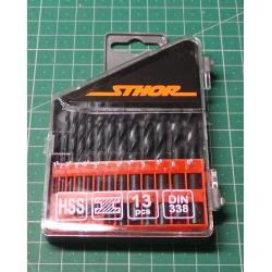 Drill Bit Set, 13Pcs, 1-6.5mm, HSS