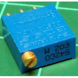 Trimpot, Multiturn, 20K, 10x9.5x4.6mm