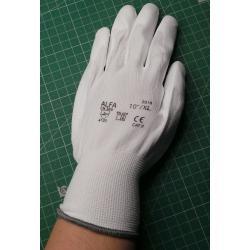Pracovní rukavice bezešvé s PU dlaní - velikost 10, bílé