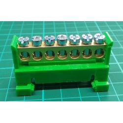 1000012 PE 7 - nulovací a rozbočovací můstek 7x16 Eleman zelený