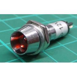 kontrolka 12V LED červená do otvoru 8mm