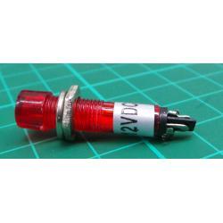 Kontrolka 12V LED, červená do otvoru 7mm