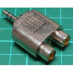 3.5mm Stereo Jack Plug to 2 x RCA Socket, Adaptor