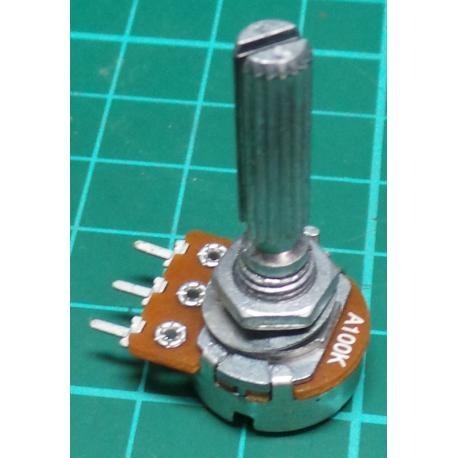 Potentiometer, 100K, Log, THT, 6x20mm Shaft