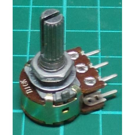 Potentiometer, 2 x 10K, Lin, THT, 6x13.5mm Shaft